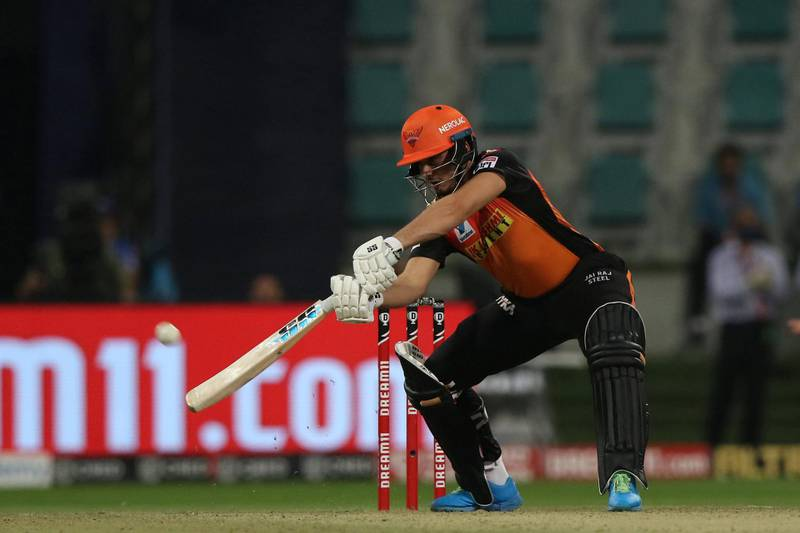 Abdul Samad of Sunrisers Hyderabad plays a shot during the qualifier 2 match of season 13 of the Dream 11 Indian Premier League (IPL) between the Delhi Capitals and the Sunrisers Hyderabad at the Sheikh Zayed Stadium, Abu Dhabi in the United Arab Emirates on the 8th November 2020.  Photo by: Pankaj Nangia  / Sportzpics for BCCI