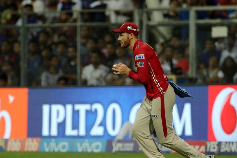 Martin Guptill of Kings XI Punjab takes a catch of Mumbai Indians captain Rohit Sharma during match 51 of the Vivo 2017 Indian Premier League between the Mumbai Indians and the Kings XI Punjab held at the Wankhede Stadium in Mumbai, India on the 11th May 2017  Photo by Vipin Pawar - Sportzpics - IPL
