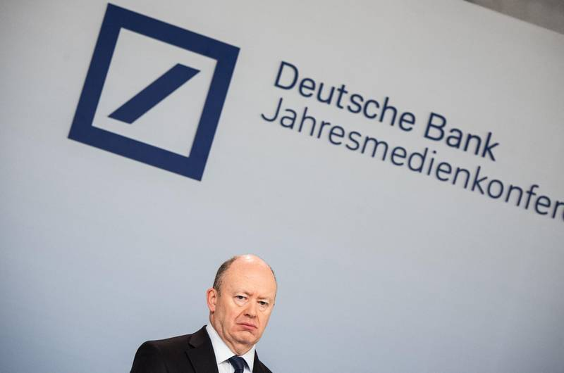 John Cryan, chief executive officer of Deutsche Bank AG, pauses during a fourth quarter results news conference in Frankfurt, Germany, on Friday, Feb. 2, 2018. Germany's largest lender just closed out another year in the red, with revenue that declined to the lowest in seven years in the fourth quarter. Photographer: Andreas Arnold/Bloomberg