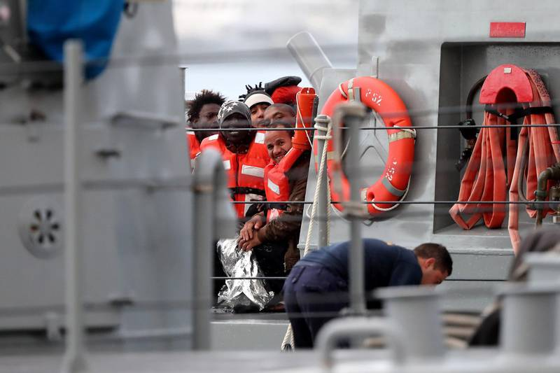 epaselect epa07271485 Migrants who had been stranded on two NGO rescue ships off the coast of Malta for several days arrive on the Maltese Armed Forces vessel P52, at the Armed Forces of Malta maritime base at Hay Wharf, in Floriana, Malta, 09 January 2019. The 49 migrants were transferred from the two NGO vessels Sea-Watch 3 and Professor Albrecht Penck and brought to Malta before being redistributed to eight European Union countries. The private rescue vessels had picked up 32 migrants on 22 December 2018, and further 17 migrants on 29 December 2019 respectively, but had been denied entry in European ports after refusing to hand over the migrants to the Libyan Coast Guard.  EPA/DOMENIC AQUILINA