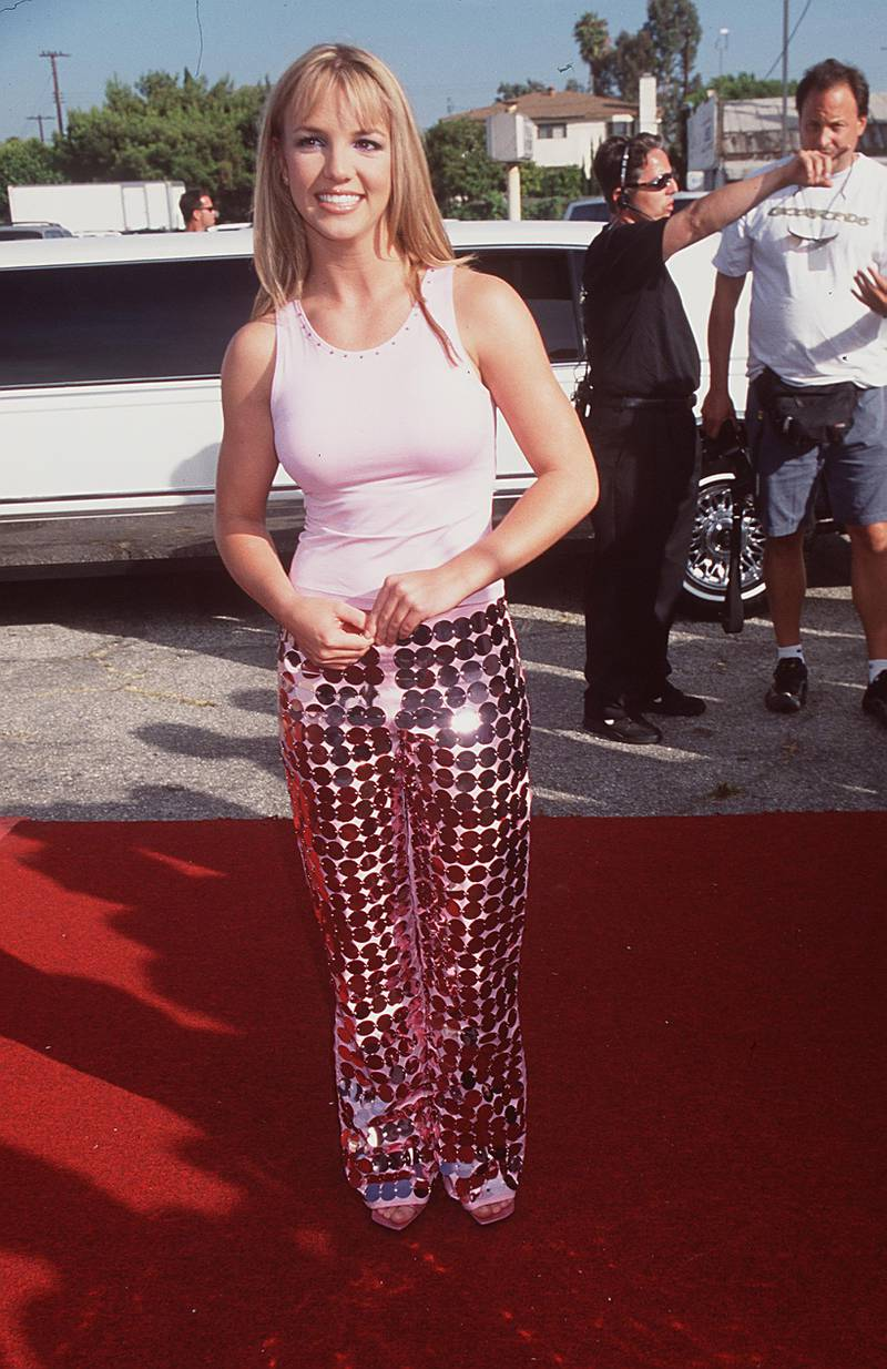 """370590 01: Britney Spears, winner of Single of the Year for """"Baby One More Time"""", at the 1999 Teen Choice Awards in Los Angeles, CAAugust 1, 1999. Photo Brenda Chase/Online USA, Inc."""