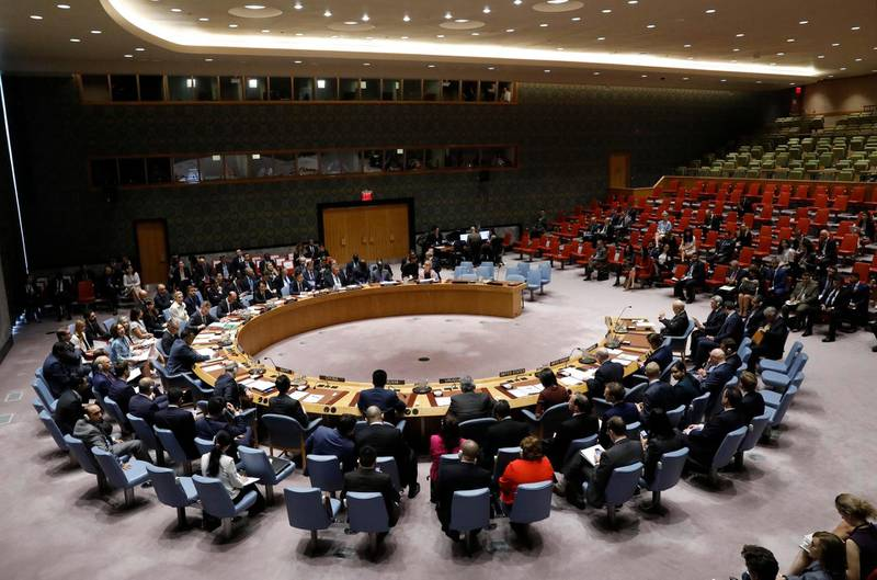 The United Nations Security Council meets to discuss adopting a resolution to help preserve evidence of Islamic State crimes in Iraq, during the 72nd United Nations General Assembly at U.N. Headquarters in New York, U.S., September 21, 2017. REUTERS/Brendan McDermid