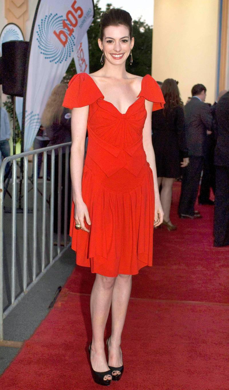 "GOLD COAST, AUSTRALIA - JUNE 20:  Anne Hathaway attends the Australian premiere of ""Get Smart"" at Movie World on June 22, 2008 in the Gold Coast, Australia. (Photo by Ben Rothstein/Getty Images)"