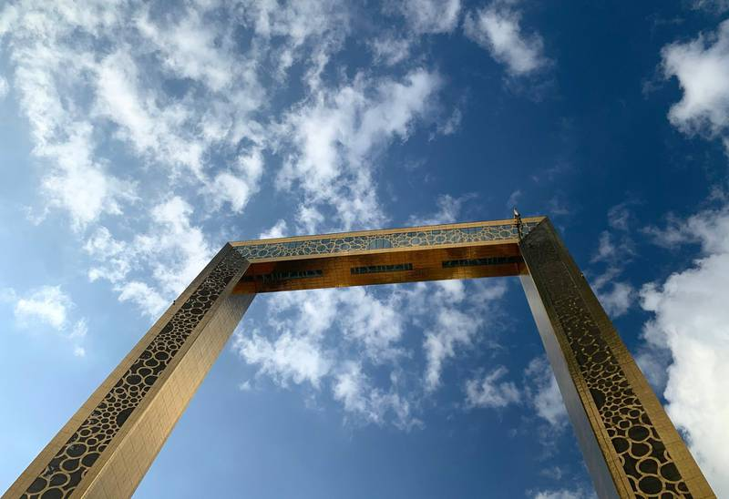 DUBAI , UNITED ARAB EMIRATES , November 24 – 2020 :- Cloudy weather over the Dubai Frame in Dubai. ( Pawan Singh / The National ) For News/Standalone/Instagram/Big Picture