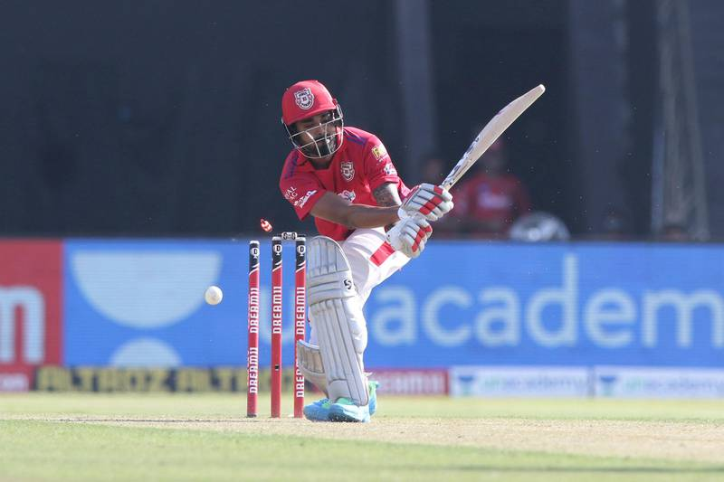 KL Rahul captain of Kings XI Punjab gets clean bowled during match 53 of season 13 of the Dream 11 Indian Premier League (IPL) between the Chennai Super Kings and the Kings XI Punjab at the Sheikh Zayed Stadium, Abu Dhabi  in the United Arab Emirates on the 1st November 2020.  Photo by: Pankaj Nangia  / Sportzpics for BCCI