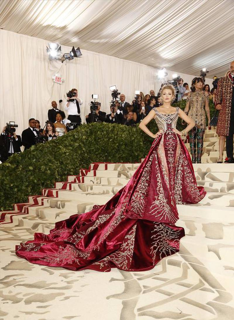 """epa06718111 Blake Lively arrives on the red carpet for the Metropolitan Museum of Art Costume Institute's benefit celebrating the opening of the exhibit """"Heavenly Bodies: Fashion and the Catholic Imagination"""" in New York, New York, USA, 07 May 2018. The exhibit will be on view at the Metropolitan Museum of Art's Costume Institute from 10 May to 08 October 2018.  EPA-EFE/JUSTIN LANE"""