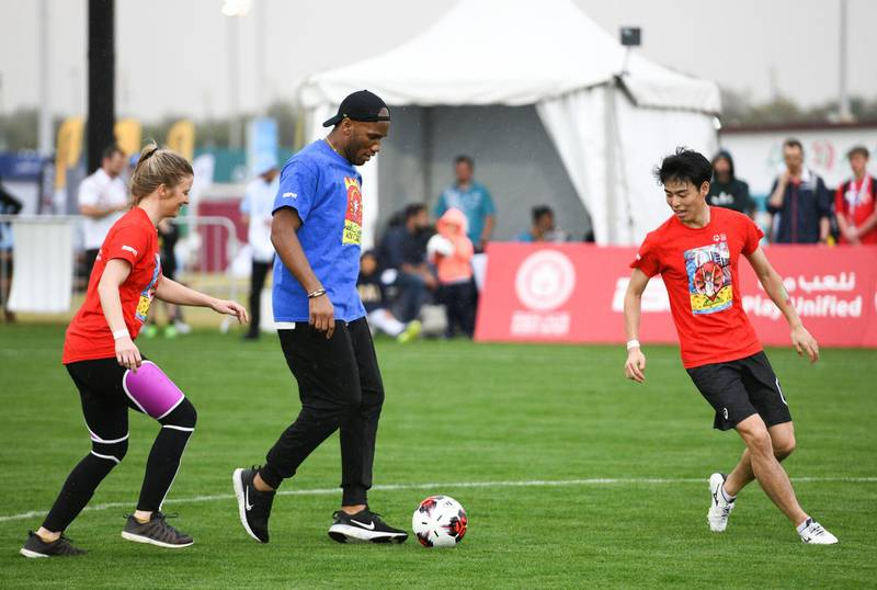 Abu Dhabi, United Arab Emirates - Didier Yves Drogba Tebily plays at the Unified Sports Experience at Zayed Sports City. Khushnum Bhandari for The National