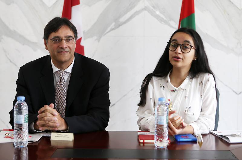 ABU DHABI , UNITED ARAB EMIRATES , JULY 17 – 2017 :- Left to Right – Masud Husain , Ambassador of Canada and Alia Al Mansoori , UAE Genes in Space winner 2017 during the meeting to discuss  Alia Al Mansoori's upcoming trip to North America and Montreal , Canada for higher education at Canadian Embassy in Abu Dhabi Trade Towers in Abu Dhabi. (Pawan Singh / The National) Story by Caline Malek