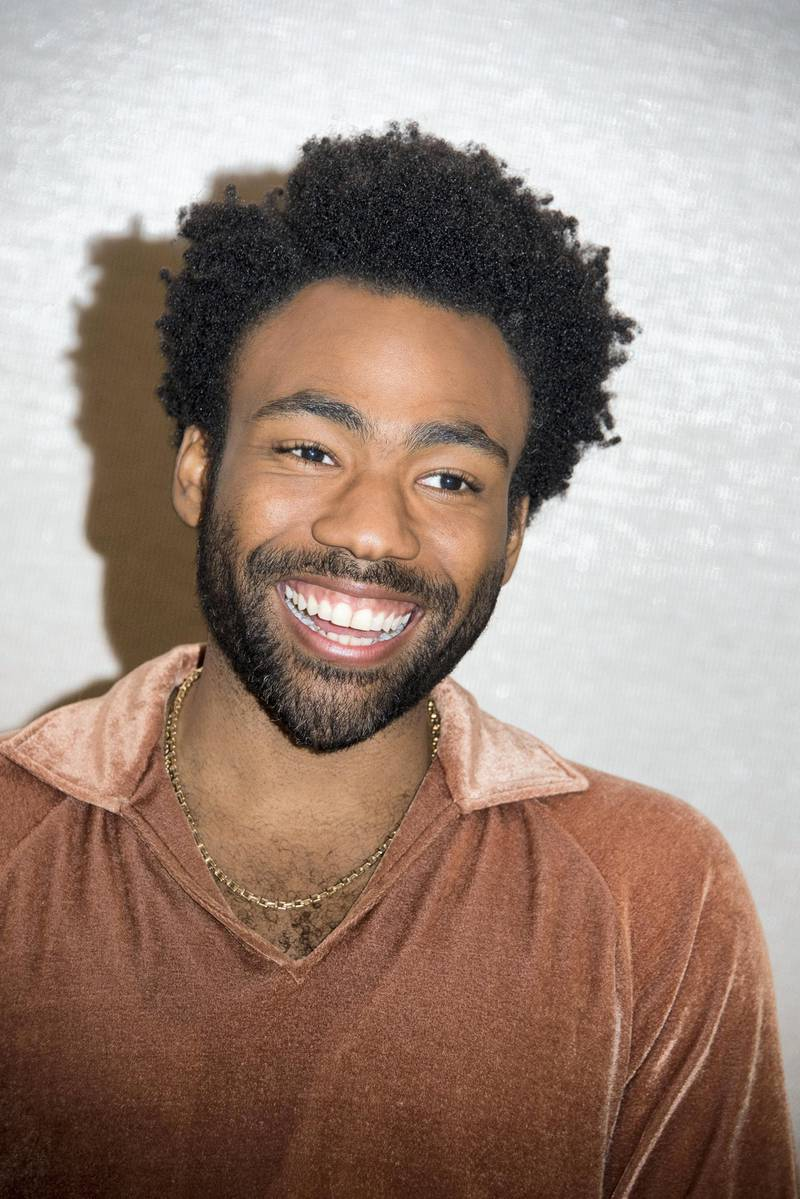 """PASADENA, CA - MAY 12:  Donald Glover at the """"Solo: A Star Wars Story"""" Press Conference at The Pasadena Convention Center on May 12, 2018 in Pasadena, California.  (Photo by Vera Anderson/WireImage)"""