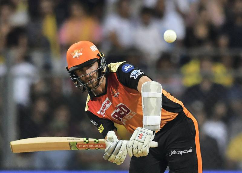 Sunrisers Hyderabad captain Kane Williamson plays a shot during the 2018 Indian Premier League (IPL) Twenty20 final cricket match between Chennai Super Kings and Sunrisers Hyderabad at the Wankhede stadium in Mumbai on May 27, 2018. / AFP PHOTO / PUNIT PARANJPE / ----IMAGE RESTRICTED TO EDITORIAL USE - STRICTLY NO COMMERCIAL USE----- / GETTYOUT