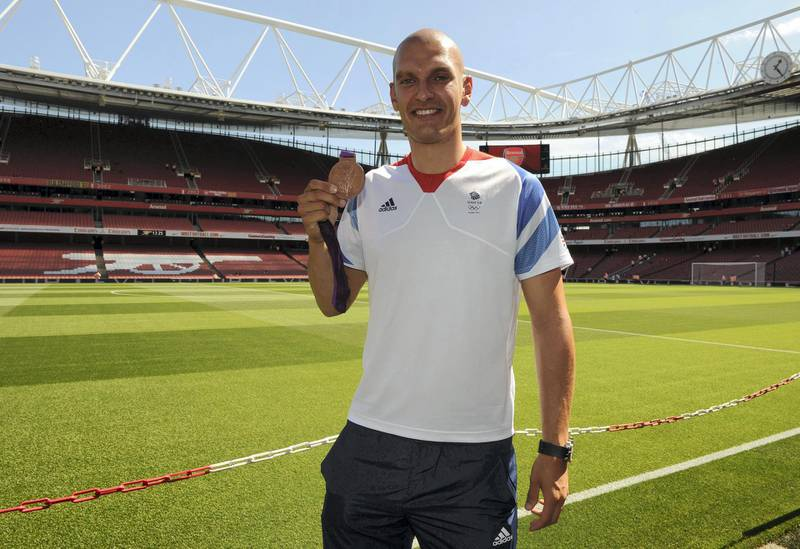 LONDON, ENGLAND - AUGUST 18:  Moe Sbihi GB Bronze medal winning rower at the Barclays Premier League match between Arsenal and Sunderland at Emirates Stadium on August 18, 2012 in London, England.  (Photo by David Price/Arsenal FC via Getty Images)