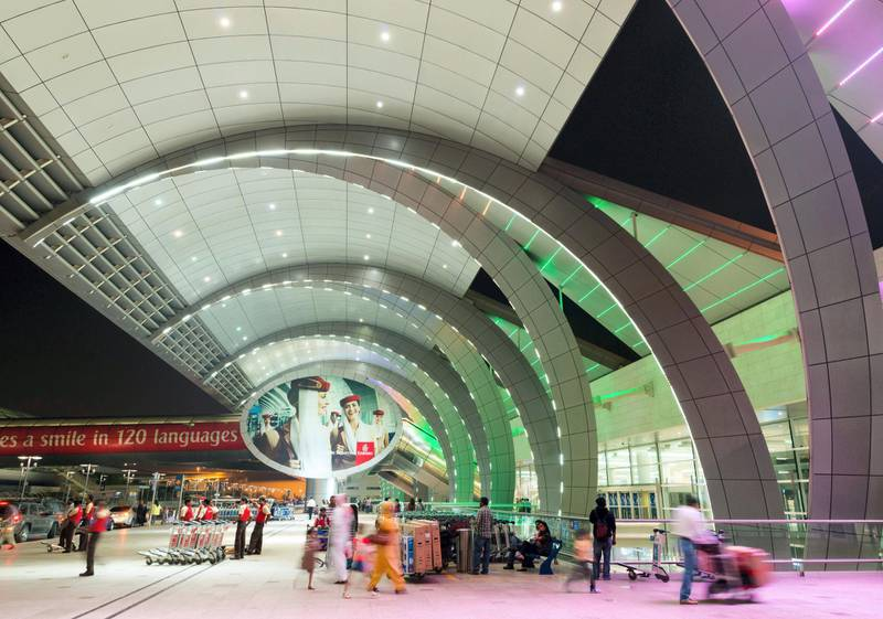 D791WX Modern architecture at Terminal 3 at Dubai International Airport United Arab Emirates
