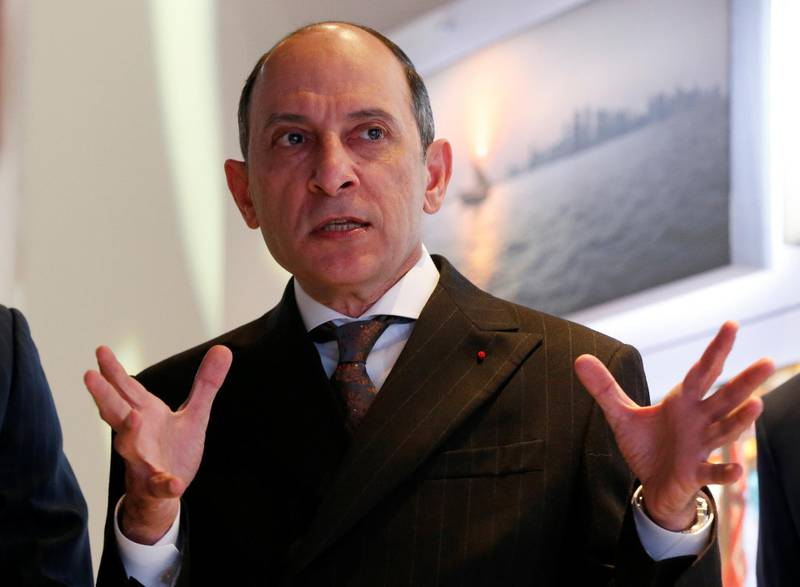 FILE PHOTO Qatar Airways Chief Executive Akbar Al Baker gestures as he tours the exhibition stand of the company at the International Tourism Trade Fair (ITB) in Berlin, Germany, March 9, 2016.   REUTERS/Fabrizio Bensch/File Photo