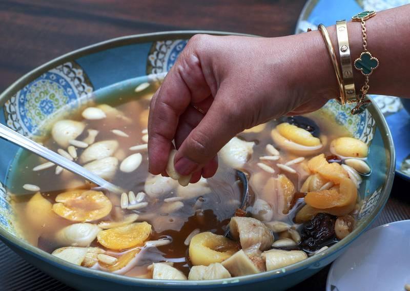 Abu Dhabi, United Arab Emirates, April 12, 2021.  Ramadan Recipes.  Koshaf dessert by Soha Darwish.Victor Besa/The NationalSection:  ACReporter:  Hanan Sayed Worrell