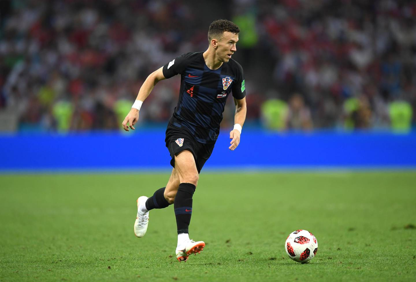 SOCHI, RUSSIA - JULY 07:  Ivan Perisic of Croatia runs with the ball during the 2018 FIFA World Cup Russia Quarter Final match between Russia and Croatia at Fisht Stadium on July 7, 2018 in Sochi, Russia.  (Photo by Shaun Botterill/Getty Images)