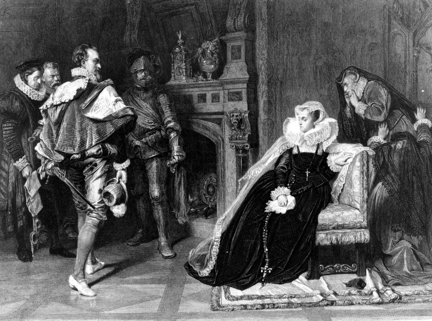1st February 1587, The death warrant of Mary Queen of Scots (1542 - 1587), authorised by Elizabeth I, is brought to her in her prison. Mary had ascended to the Scottish throne when she was six days old but in 1548 was sent to France as the prospective bride of the French Da (Photo by Hulton Archive/Getty Images)
