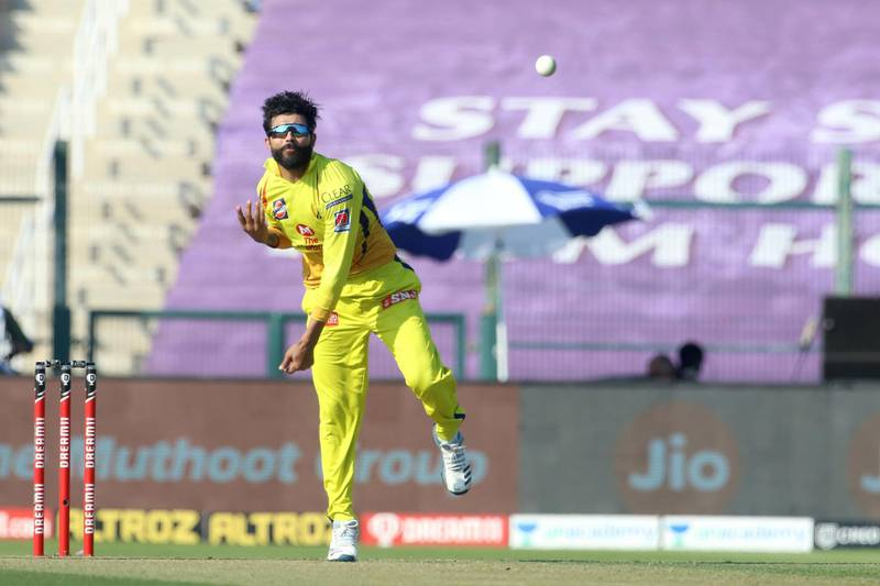 Ravindra Jadeja of Chennai Superkings bowls during match 53 of season 13 of the Dream 11 Indian Premier League (IPL) between the Chennai Super Kings and the Kings XI Punjab at the Sheikh Zayed Stadium, Abu Dhabi  in the United Arab Emirates on the 1st November 2020.  Photo by: Vipin Pawar  / Sportzpics for BCCI