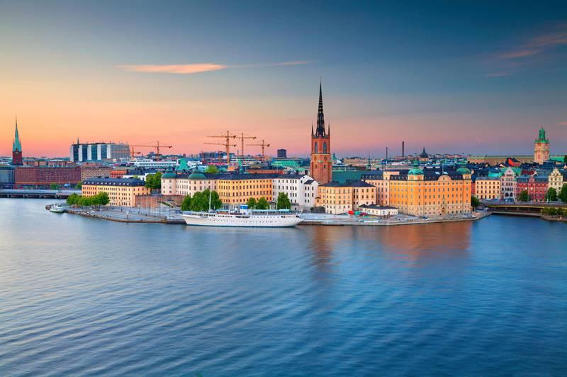 GEDBH9 Stockholm. Image of Stockholm, Sweden during twilight blue hour.