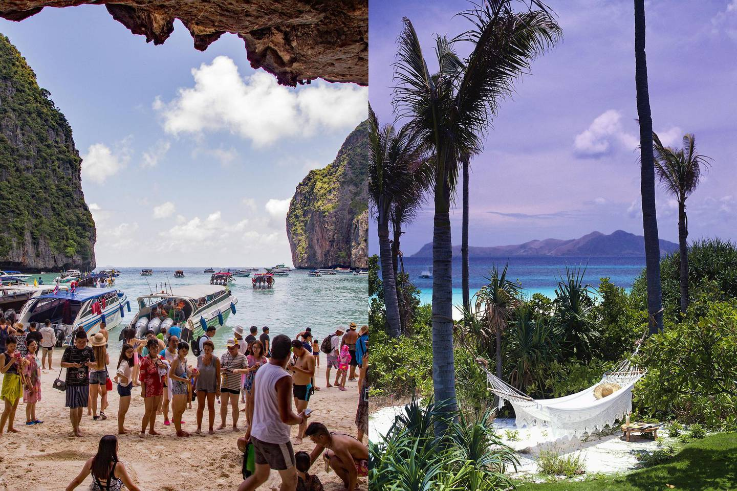 Maya Bay Beach, Ko Phi Phi Le Island, Thailand, are overcrowded with tourists because it is now a honeypot or bucket list tourism destination. Harry Green / Alamy Stock PhotoPalawan -