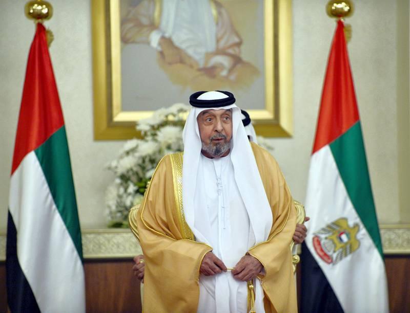 Sheikh Khalifa received H.H. Dr. Sheikh Sultan bin Mohammed Al Qasimi, Supreme Council Member and Ruler of Sharjah, H.H. Sheikh Humaid bin Rashid Al Nuaimi, Supreme Council Member and Ruler of Ajman, H.H. Sheikh Hamad bin Mohammed Al Sharqi, Supreme Council Member and Ruler of Fujairah, H.H. Sheikh Saud bin Rashid Al Mu'alla, Supreme Council Member and Ruler of Umm Al Qaiwain and H.H. Sheikh Saud bin Saqr Al Qasimi, Supreme Council Member and Ruler of Ras al-Khaimah. At the beginning of the meeting, Sheikh Khalifa and the Rulers of the Emirates congratulated Sheikh Mohammed bin Rashid on Dubai's win to host EXPO 2020, affirming that the win represents an important leap in the march of the big achievements of the U.A.E. since its establishment.  WAM *** Local Caption ***  36ca3b73-6020-4227-ba15-b44793eb4b33.jpg 36ca3b73-6020-4227-ba15-b44793eb4b33.jpg