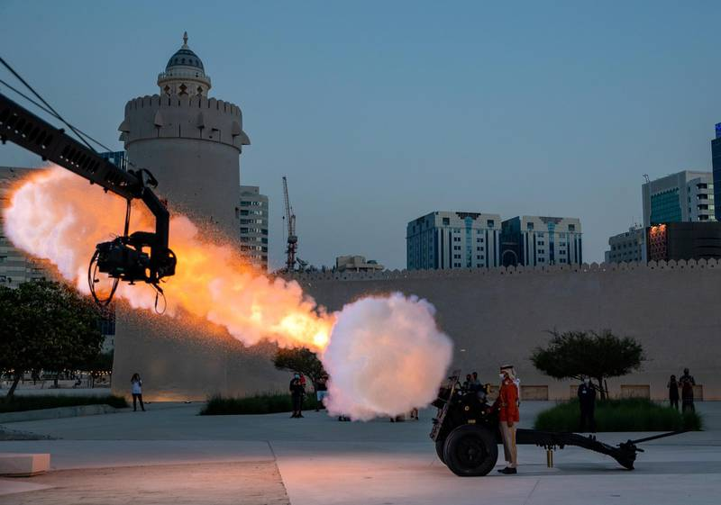 Abu Dhabi, United Arab Emirates, April 20, 2021.  Abu Dhabi's oldest standing building, Qasr al Hosn, performs the tradition canon firing to mark the beginning of iftar.Victor Besa/The NationalSection:  NA/Standalone/Big Picture