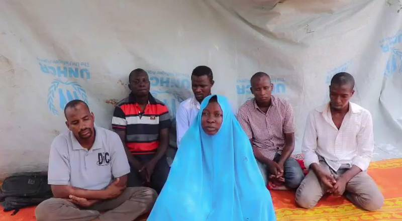 """A screen grab taken from a video released on July 25, 2019 by the IS-linked Islamic State West Africa Province (ISWAP) purportedly shows a female aid worker from the NGO Action Against Hunger and five male colleagues kidnapped in an attack in northeast Nigeria last week.  Aid group 'Action Against Hunger ' said that one of its staff members along with three health workers and two drivers were missing after their convoy was attacked on July 18, 2019, near the border with Niger. The hostages are believed to be held in the ISWAP enclave on the shores of Lake Chad. ISWAP is a splinter group of Boko Haram that swore allegiance in 2016 to IS leader Abu Bakr al-Baghdadi.  - RESTRICTED TO EDITORIAL USE - MANDATORY CREDIT """"AFP PHOTO / IS-linked Islamic State West Africa Province (ISWAP)"""" - NO MARKETING - NO ADVERTISING CAMPAIGNS - DISTRIBUTED AS A SERVICE TO CLIENTS  / AFP / IS-linked Islamic State West Africa Province (ISWAP) / Handout / RESTRICTED TO EDITORIAL USE - MANDATORY CREDIT """"AFP PHOTO / IS-linked Islamic State West Africa Province (ISWAP)"""" - NO MARKETING - NO ADVERTISING CAMPAIGNS - DISTRIBUTED AS A SERVICE TO CLIENTS"""