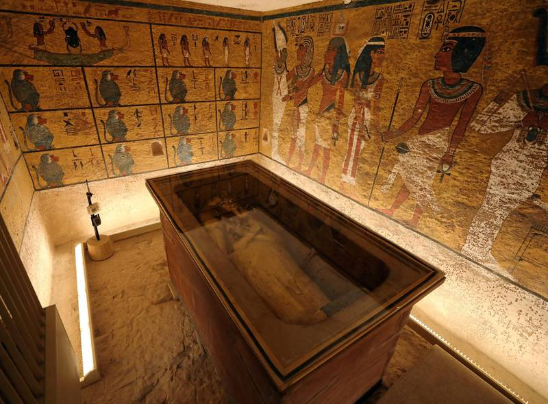 The sarcophagus of boy pharaoh King Tutankhamun is on display in his newly renovated tomb in the Valley of the Kings in Luxor, Egypt January 31, 2019. REUTERS/Mohamed Abd El Ghany