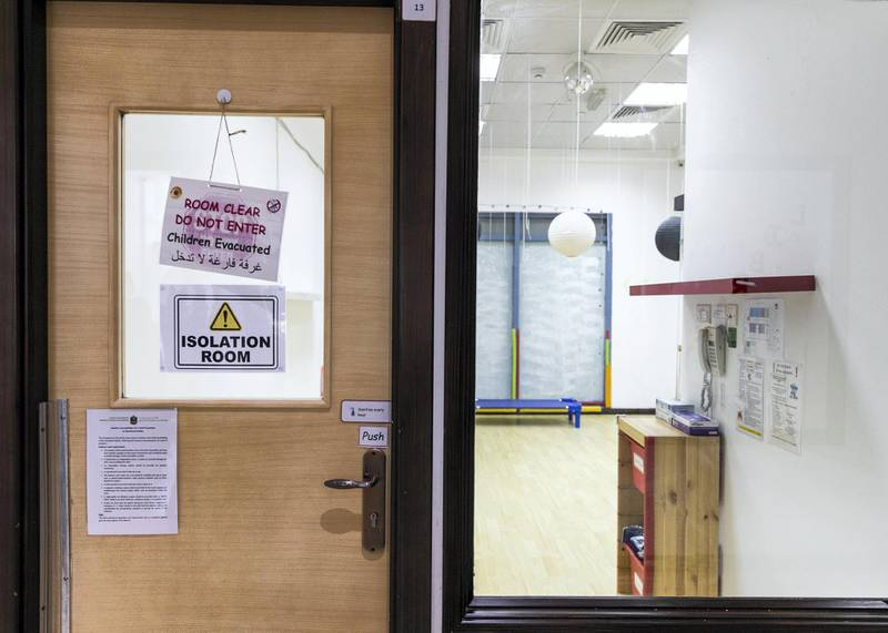 DUBAI, UNITED ARAB EMIRATES.12  OCTOBER 2020. Isolation room at the British Orchard Nursery in Dubai Silicon Oasis.(Photo: Reem Mohammed/The National)Reporter:Section: