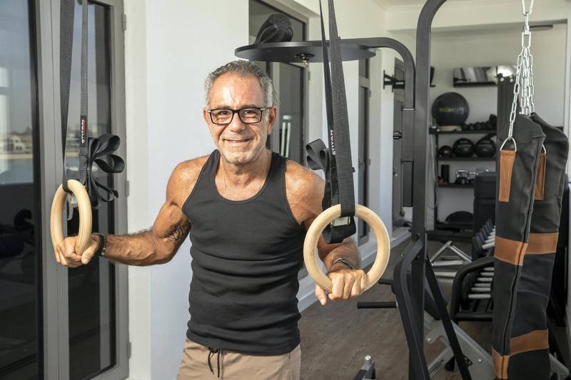 DUBAI, UNITED ARAB EMIRATES. 24 OCTOBER 2020. Halim Shehadeh at his private gym in his home on the Palm in Dubai. (Photo: Antonie Robertson/The National) Journalist: David. Section: Luxury.