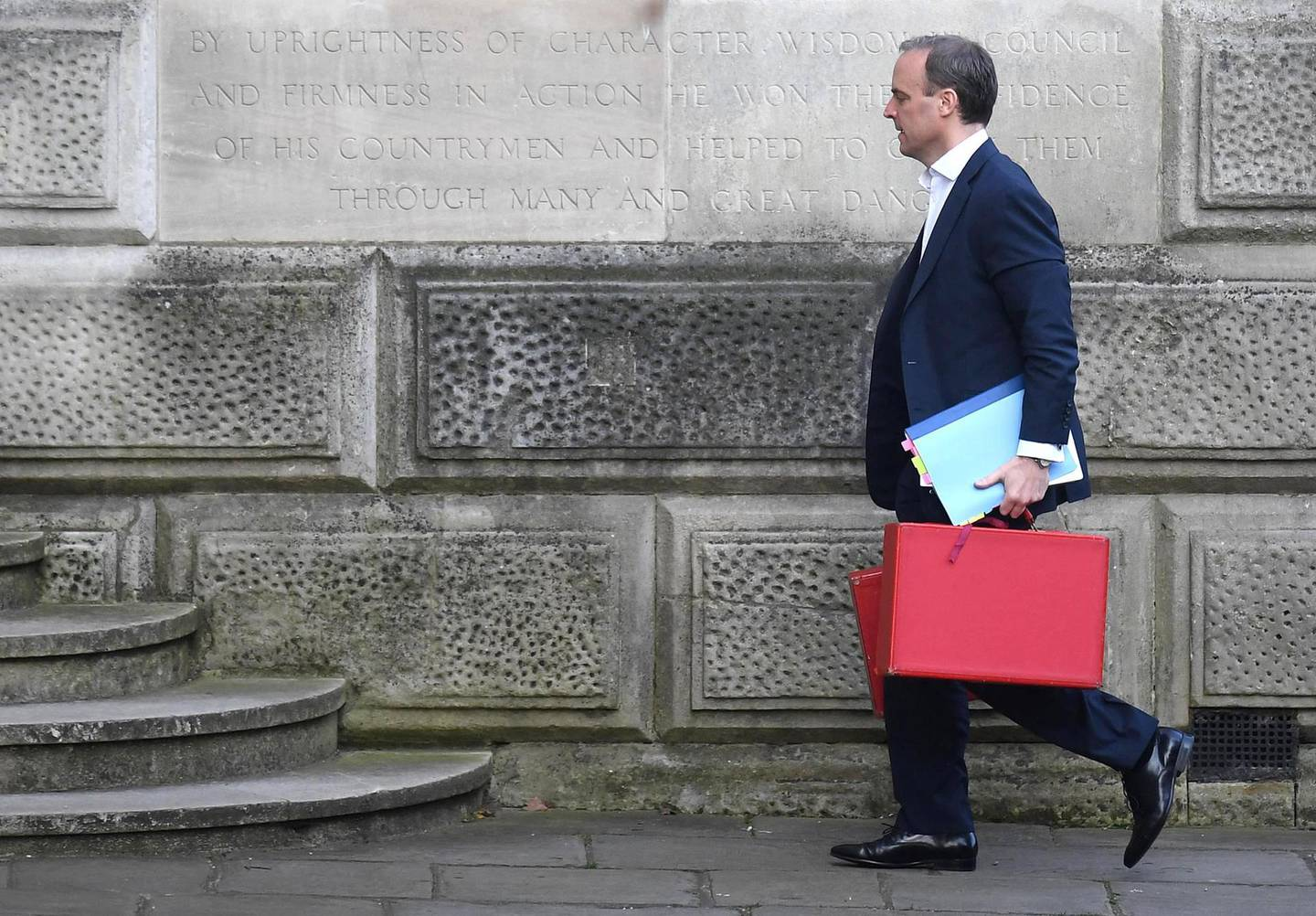 epa08352229 Britain's Foreign Secretary Dominic Raab arrives at Downing Street ahead of a COBRA meeting in London, Britain, 09 April 2020. The COBRA meeting is being held to discuss the UK lockdown measures. Countries around the world are taking increased measures to stem the widespread of the SARS-CoV-2 coronavirus which causes the Covid-19 disease.  EPA/NEIL HALL