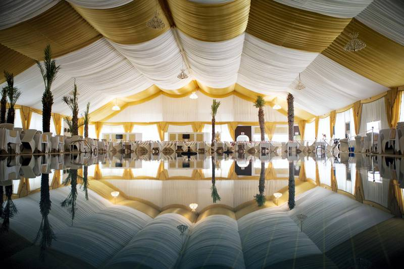 Abu Dhabi, United Arab Emirates, June 6, 2016:    Ramadan tent seen during final preparations ahead of tonights first iftar at the Le Royal Meridien hotel in Abu Dhabi on June 6, 2016. Iftar is the meal that breaks the fast after the sun goes down during the holy month of Ramadan. Christopher Pike / The National  Job ID: 74986 Reporter: Hala Khalaf Section: News Keywords:  *** Local Caption ***  CP0606-na-ramadan-tent08.JPG