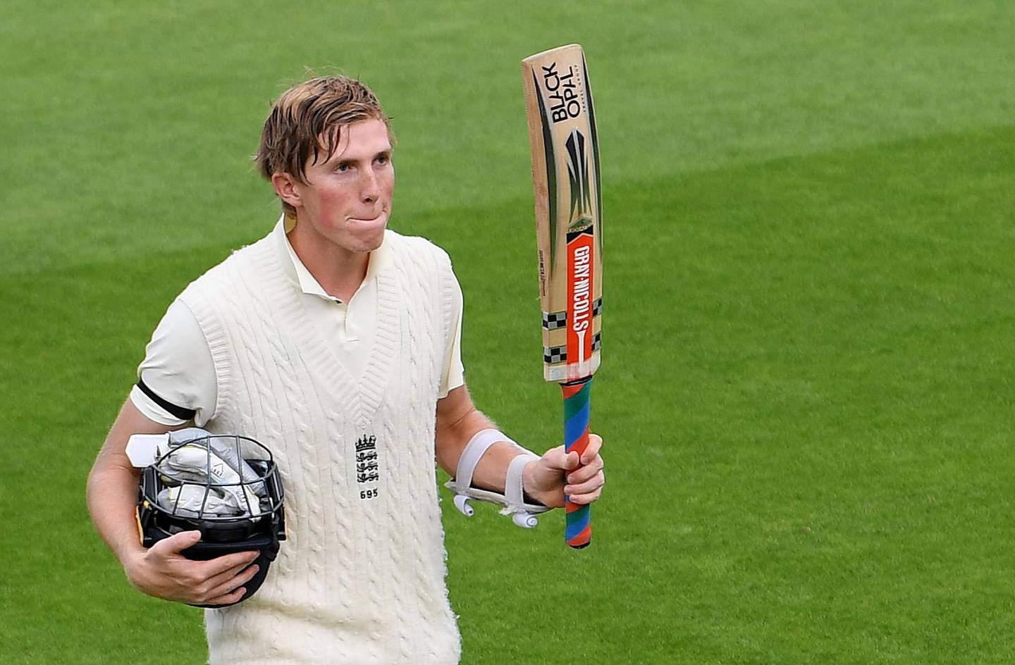 Cricket - Third Test - England v Pakistan - Ageas Bowl, Southampton, Britain - August 21, 2020   England's Zak Crawley reacts as he walks off at the end of play, as play resumes behind closed doors following the outbreak of the coronavirus disease (COVID-19)   Mike Hewitt/Pool via REUTERS