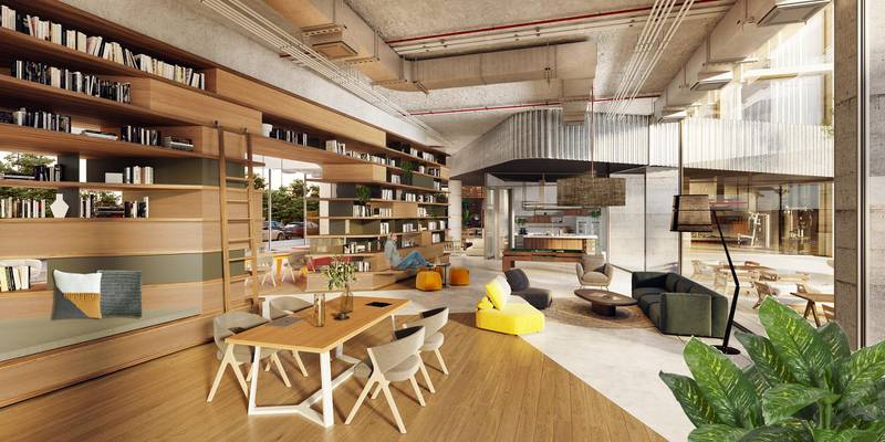 Renders of the co-living apartment bock Hive Coliv in JVC in Dubai. It's a built-to-rent real estate development and management company that exclusively focuses on co-living.