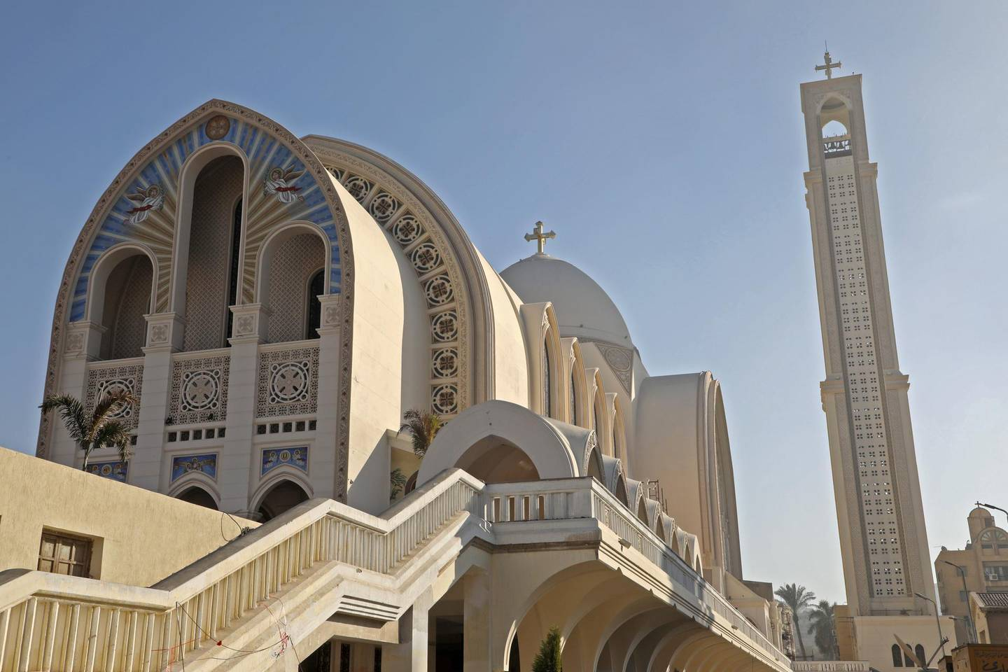 This picture taken on January 29, 2019 shows a view of St Mark's Cathedral, at the Coptic Orthodox Church's headquarters, in the capital Cairo's central Abbasiya district, during the French president's visit. (Photo by Ludovic MARIN / AFP)