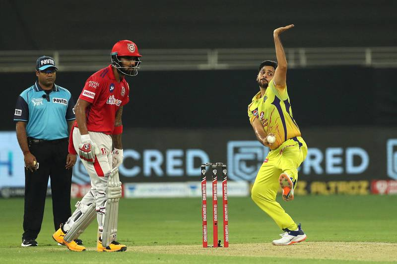 Shardul  Thakur of Chennai Superkings during match 18 of season 13 of the Dream 11 Indian Premier League (IPL) between the Kings XI Punjab and the Chennai Super Kings held at the Dubai International Cricket Stadium, Dubai in the United Arab Emirates on the 4th October 2020.  Photo by: Ron Gaunt  / Sportzpics for BCCI