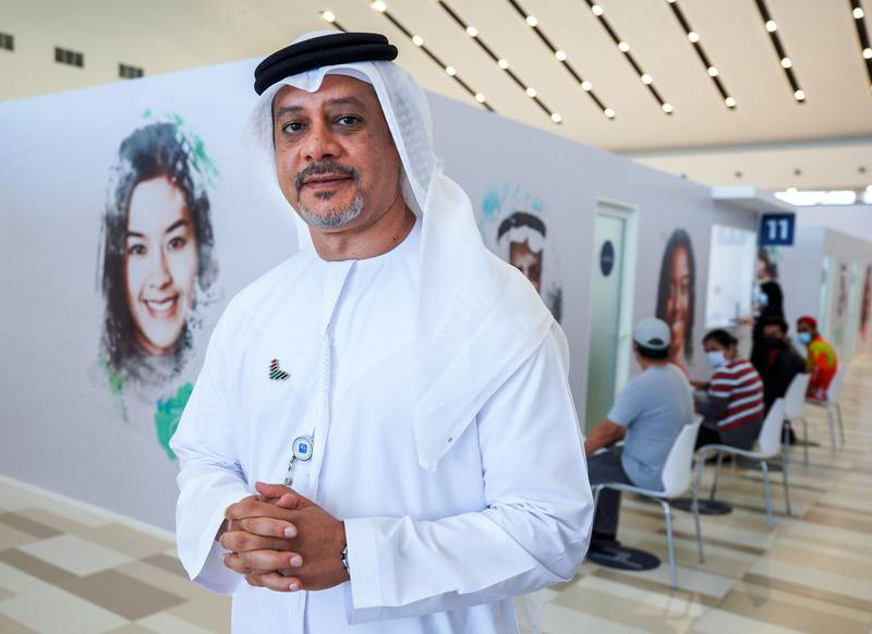 Abu Dhabi, United Arab Emirates, January 12, 2021. SEHA Vaccination Centre at the Abu Dhabi Cruise Terminal area.--  Mohamed Hawas Al Sadid, CEO of SEHA.Victor Besa/The NationalSection:  NAReporter:  Shireena Al Nowais