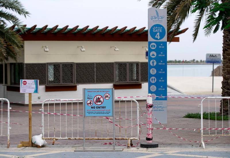 Abu Dhabi, United Arab Emirates, April 13, 2020.  No Entry signs at the Corniche beach area during the Coronavirus epidemic.Victor Besa / The NationalSection:  NAFor:  Standalone