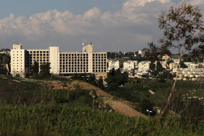 A picture taken on February 24, 2018, shows the building of the former Diplomat Hotel in Jerusalem, considered one of the options to host the new US embassy headquarters after its relocation from Tel Aviv.  The United States will move its embassy from Tel Aviv to Jerusalem in May 2018 to coincide with Israel's 70th Independence Day according to US officials. / AFP PHOTO / AHMAD GHARABLI