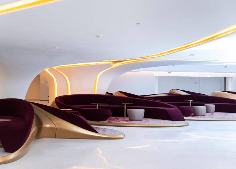 DUBAI, UNITED ARAB EMIRATES. 25 FEBRUARY 2020. Lobby of ME by Melia hotel. It is set to open next month. It is located in The Opus building by Zaha Hadid Architects. Both the interior and exterior is designed by the late Zaha Hadid, who founded Zaha Hadid Architects (ZHA).(Photo: Reem Mohammed/The National)Reporter:Section: