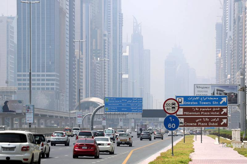 Dubai, United Arab Emirates - Reporter: N/A. Weather. Lots of cars go down Sheikh Zayed Road on a hazy day in Downtown. Monday, August 17th, 2020. Dubai. Chris Whiteoak / The National