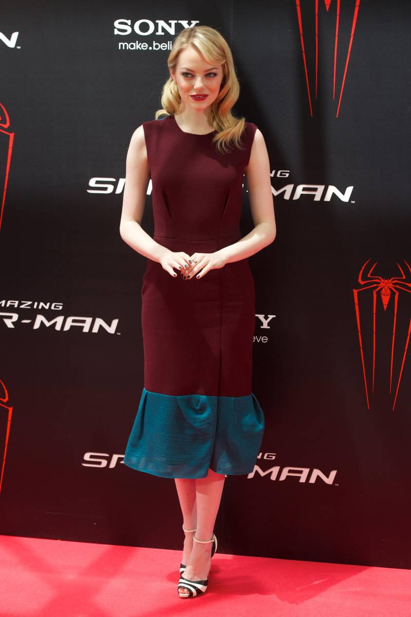 """MADRID, SPAIN - JUNE 21:  Actress Emma Stone attends """"The Amazing Spider-Man"""" photocall at Villamagna Hotel on June 21, 2012 in Madrid, Spain.  (Photo by Carlos Alvarez/Getty Images)"""