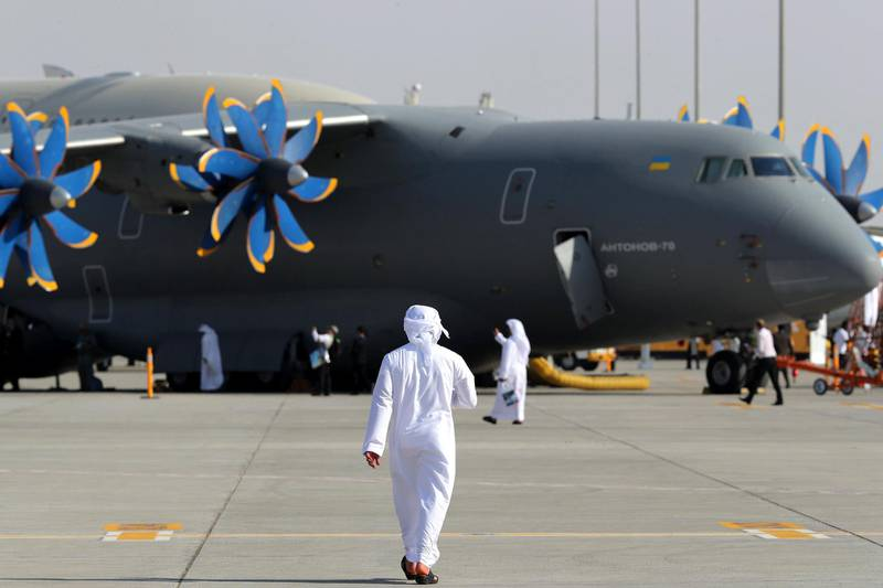 Dubai, United Arab Emirates - November 14th, 2017: Visitors at the Dubai airshow. Tuesday, November 14th, 2017 at Al Maktoum Airport, Dubai. Chris Whiteoak / The National