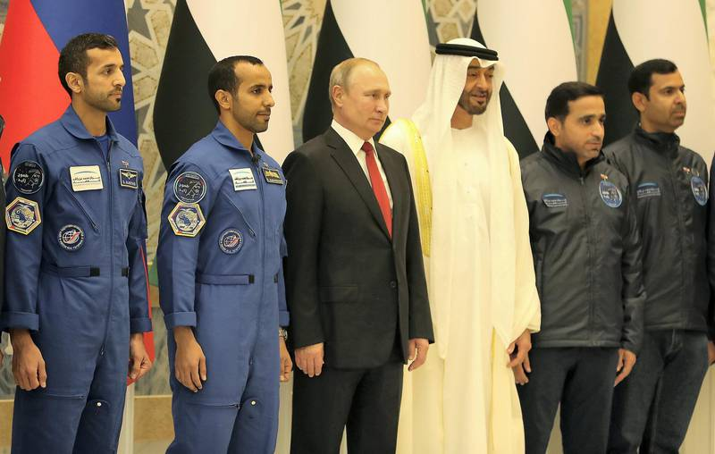 ABU DHABI , UNITED ARAB EMIRATES , October 15  – 2019 :- Vladimir Putin, President of Russia and Sheikh Mohammed bin Zayed Al Nahyan , Crown Prince of Abu Dhabi meeting with UAE Astronauts Hazza Al Mansouri and Sultan Al Neyadi during his visit at the Presidential Palace in Abu Dhabi.  ( Pawan Singh / The National )  For News. Story by John