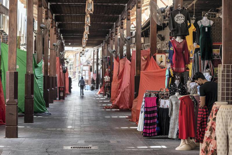DUBAI, UNITED ARAB EMIRATES. 15 JUNE 2020. STANDALONE. Bur Dubai life during COVID-19.  Shops within Souk Khabeer, n the old part of Bur Dubai, was hard hit by the locksdown and remain closed. (Photo: Antonie Robertson/The National) Journalist: None. Section: National.