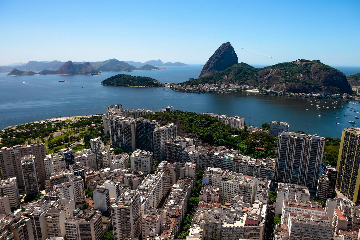 Aerial view of touristic point from the Rio de Janeiro city in a day light