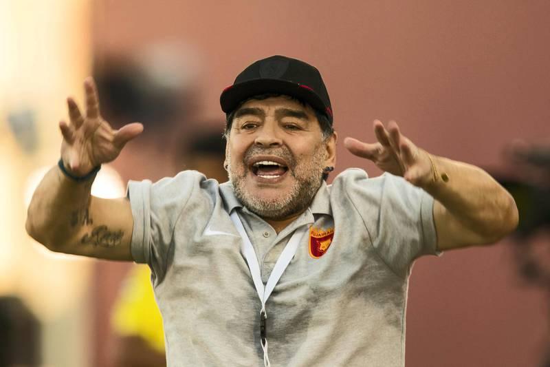 Fujairah, United Arab Emirates, November 4, 2017:    Diego Maradona, head coach of Fujairah football club, gestures while playing against Al Orouda during their UAE first division regular season match at the Fujairah stadium in Fujairah on November 4, 2017. Christopher Pike / The National  Reporter: John McAuley Section: Sport