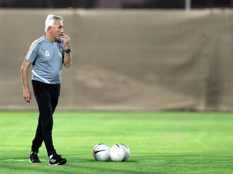 UAE manager Bert van Marwijk takes training before the game between the UAE and Vietnam in the World cup qualifiers at the Zabeel Stadium, Dubai on June 14th, 2021. Chris Whiteoak / The National.  Reporter: John McAuley for Sport