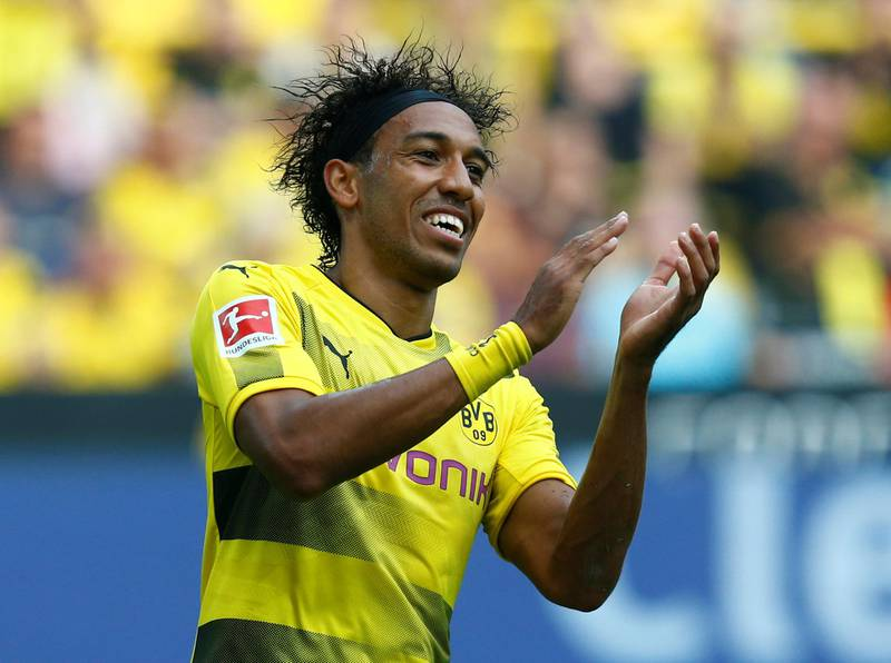 Soccer Football - Bundesliga - Borussia Dortmund vs Hertha BSC Berlin - Dortmund, Germany - August 26, 2017   Borussia Dortmund's Pierre-Emerick Aubameyang celebrates scoring their first goal    REUTERS/Ralph Orlowski    DFL RULES TO LIMIT THE ONLINE USAGE DURING MATCH TIME TO 15 PICTURES PER GAME. IMAGE SEQUENCES TO SIMULATE VIDEO IS NOT ALLOWED AT ANY TIME. FOR FURTHER QUERIES PLEASE CONTACT DFL DIRECTLY AT + 49 69 650050