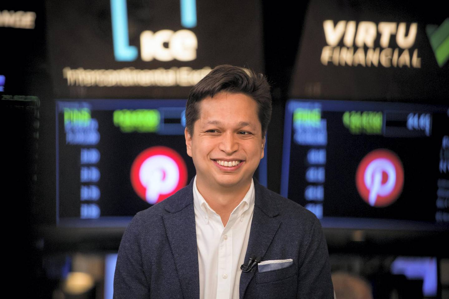 Ben Silbermann, co-founder and chief executive officer of Pinterest Inc., smiles during an interview on the floor of the New York Stock Exchange (NYSE) during the company's initial public offering (IPO) in New York, U.S., on Thursday, April 18, 2019. Pinterest's message to investors was don't compare us to social media or a search engine. The outcome Wednesday was that it raised about $1.4 billion in an above-range initial public offering. Photographer: Michael Nagle/Bloomberg via Getty Images