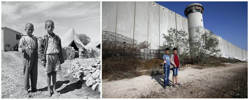 """A combination picture shows Palestinian boys posing for a photo in Aida refugee camp in Bethlehem in the Israeli-occupied West Bank, in this undated handout photo. UNRWA/Handout via REUTERS (L) and Palestinian boys posing for a photo in front of a section of the Israeli barrier in Aida refugee camp in Bethlehem in the Israeli-occupied West Bank, October 19, 2019. REUTERS/Mussa Qawasma ATTENTION EDITORS - THIS IMAGE WAS PROVIDED BY A THIRD PARTY. NO RESALES. NO ARCHIVES SEARCH """"UNRWA COMBOS"""" FOR THIS STORY. SEARCH """"WIDER IMAGE"""" FOR ALL STORIES. TPX IMAGES OF THE DAY"""